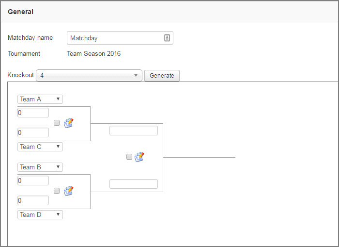 Generator of a group knockout tournament